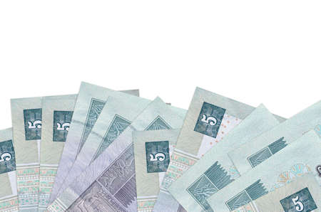 5 Egyptian pounds bills lies on bottom side of screen isolated on white background with copy space. Background banner template for business concepts with money