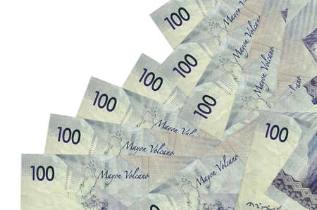 100 Philippine piso bills lies in different order isolated on white. Local banking or money making concept. Business background banner