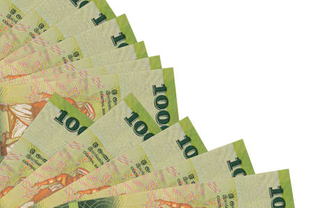 1000 Sri Lankan rupees bills lies isolated on white background with copy space stacked in fan close up. Payday time concept or financial operations