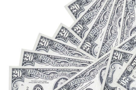 20 US dollars bills lies in different order isolated on white. Local banking or money making concept. Business background banner 스톡 콘텐츠