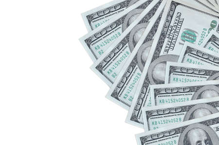 100 US dollars bills lies isolated on white background with copy space. Rich life conceptual background. Big amount of national currency wealth