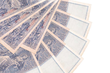 100 Reich marks bills lies isolated on white background with copy space stacked in fan shape close up. Financial transactions concept 스톡 콘텐츠