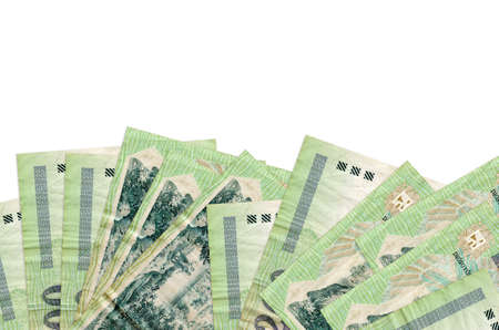 200 Hungarian forint bills lies on bottom side of screen isolated on white background with copy space. Background banner template for business concepts with money 스톡 콘텐츠
