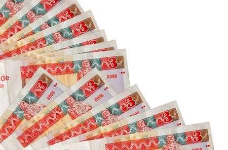 3 cuban pesos convertibles bills lies isolated on white background with copy space stacked in fan close up. Payday time concept or financial operations