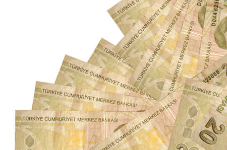 20 Turkish liras bills lies in different order isolated on white. Local banking or money making concept. Business background banner