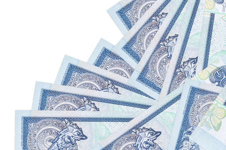 50 Sri Lankan rupees bills lies in different order isolated on white. Local banking or money making concept. Business background banner