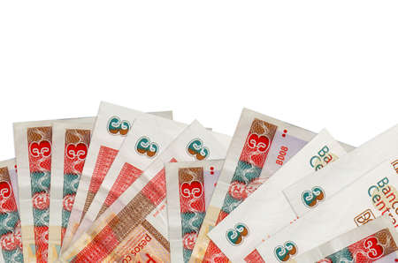 3 cuban pesos convertibles bills lies on bottom side of screen isolated on white background with copy space. Background banner template for business concepts with money