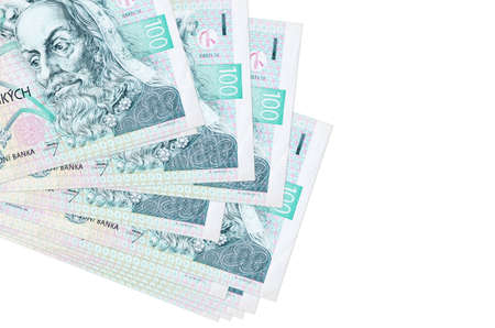 100 Czech korun bills lies in small bunch or pack isolated on white. Mockup with copy space. Business and currency exchange concept