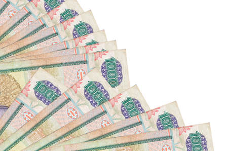 1000 Sri Lankan rupees bills lies isolated on white background with copy space stacked in fan close up. Payday time concept or financial operations 版權商用圖片