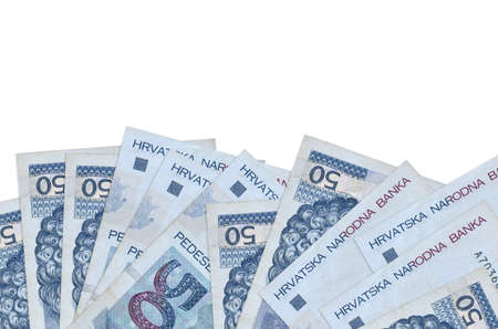 50 Croatian kuna bills lies on bottom side of screen isolated on white background with copy space. Background banner template for business concepts with money