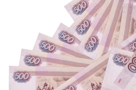 500 russian rubles bills lies in different order isolated on white. Local banking or money making concept. Business background banner 版權商用圖片