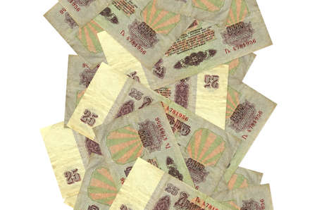 25 russian rubles bills flying down isolated on white. Many banknotes falling with white copy space on left and right side 版權商用圖片