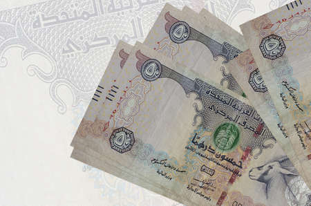 50 UAE dirhams bills lies in stack on background of big semi-transparent banknote. Abstract presentation of national currency. Business concept Banco de Imagens