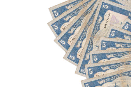 5 Ukrainian hryvnias bills lies isolated on white background with copy space. Rich life conceptual background. Big amount of national currency wealth