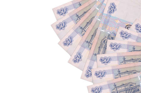 50 russian rubles bills lies isolated on white background with copy space. Rich life conceptual background. Big amount of national currency wealth
