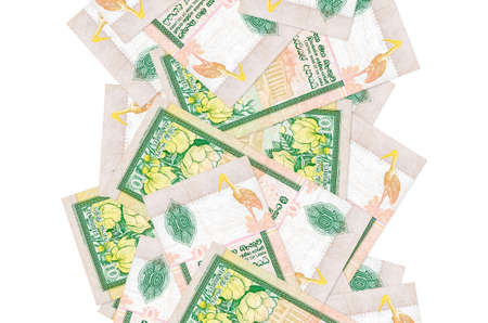 10 Sri Lankan rupees bills flying down isolated on white. Many banknotes falling with white copy space on left and right side Zdjęcie Seryjne