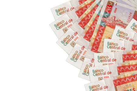 3 cuban pesos convertibles bills lies isolated on white background with copy space. Rich life conceptual background. Big amount of national currency wealth Zdjęcie Seryjne
