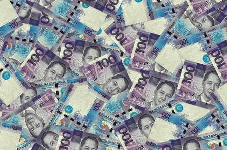 100 Philippine piso bills lies in big pile. Rich life conceptual background. Big amount of money