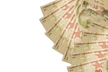 20 Turkish liras bills lies isolated on white background with copy space. Rich life conceptual background. Big amount of national currency wealth