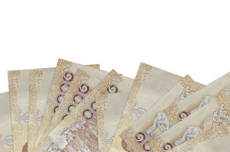 1000 Thai baht bills lies on bottom side of screen isolated on white background with copy space. Background banner template for business concepts with money