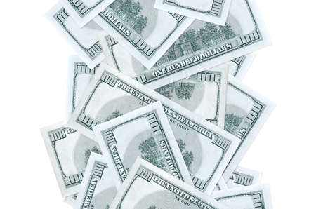 100 US dollars bills flying down isolated on white. Many banknotes falling with white copy space on left and right side