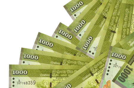 1000 Sri Lankan rupees bills lies in different order isolated on white. Local banking or money making concept. Business background banner