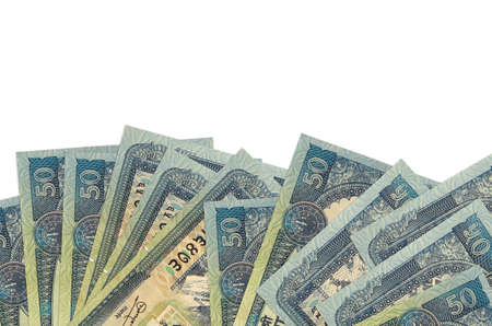 50 Nepalese rupees bills lies on bottom side of screen isolated on white background with copy space. Background banner template for business concepts with money