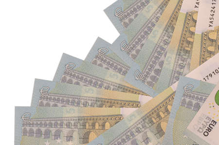 5 euro bills lies in different order isolated on white. Local banking or money making concept. Business background banner