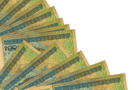 200 Uzbekistani som bills lies isolated on white background with copy space stacked in fan close up. Payday time concept or financial operations