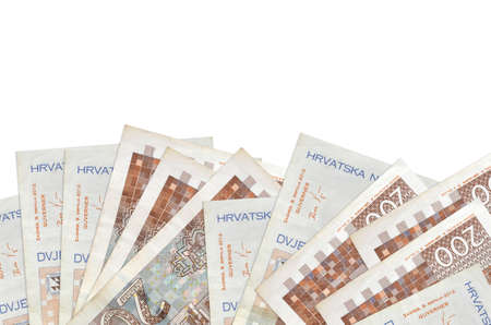 200 Croatian kuna bills lies on bottom side of screen isolated on white background with copy space. Background banner template for business concepts with money