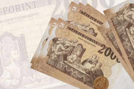 2000 Hungarian forint bills lies in stack on background of big semi-transparent banknote. Abstract presentation of national currency. Business concept