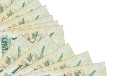 1 Brazilian real bills lies isolated on white background with copy space stacked in fan close up. Payday time concept or financial operations 免版税图像