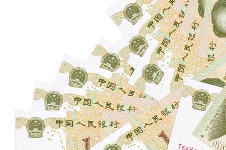 1 Chinese yuan bills lies in different order isolated on white. Local banking or money making concept. Business background banner