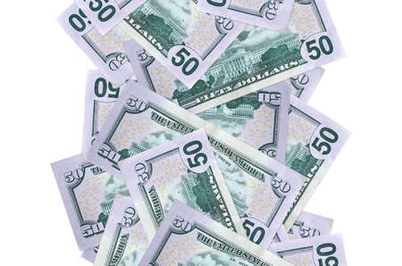 50 US dollars bills flying down isolated on white. Many banknotes falling with white copy space on left and right side