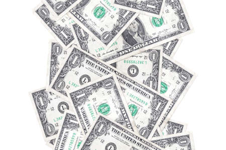 1 US dollar bills flying down isolated on white. Many banknotes falling with white copy space on left and right side 免版税图像