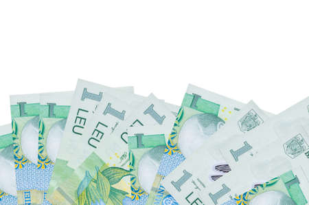 1 Romanian leu bills lies on bottom side of screen isolated on white background with copy space. Background banner template for business concepts with money 免版税图像