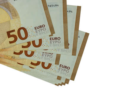 50 euro bills lies in small bunch or pack isolated on white. Mockup with copy space. Business and currency exchange concept