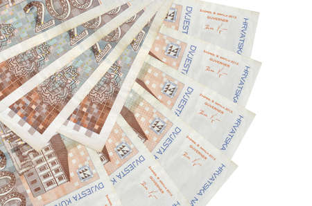 200 Croatian kuna bills lies isolated on white background with copy space stacked in fan shape close up. Financial transactions concept