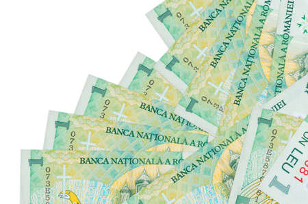 1 Romanian leu bills lies in different order isolated on white. Local banking or money making concept. Business background banner