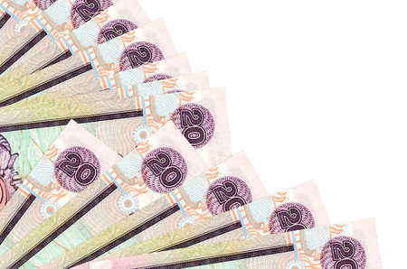 20 Sri Lankan rupees bills lies isolated on white background with copy space stacked in fan close up. Payday time concept or financial operations