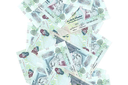 500 UAE dirhams bills flying down isolated on white. Many banknotes falling with white copy space on left and right side Stock fotó