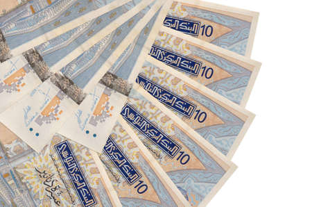 10 Tunisian dinars bills lies isolated on white background with copy space stacked in fan shape close up. Financial transactions concept Stock fotó