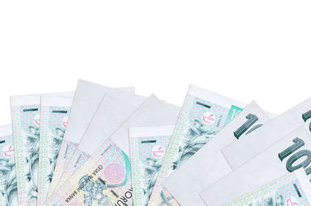 100 Czech korun bills lies on bottom side of screen isolated on white background with copy space. Background banner template for business concepts with money