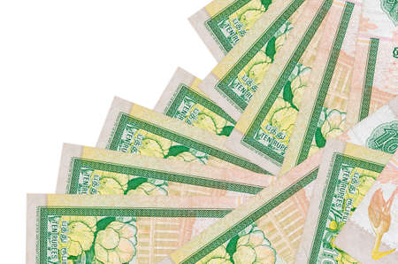10 Sri Lankan rupees bills lies in different order isolated on white. Local banking or money making concept. Business background banner