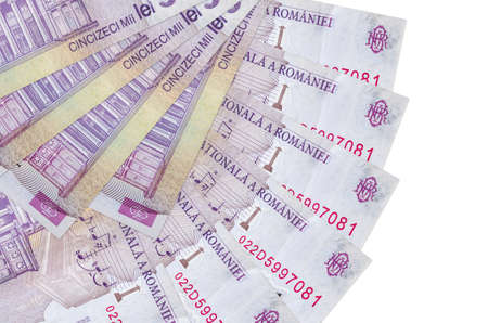 50,000 Romanian leu bills lies isolated on white background with copy space stacked in fan shape close up. Financial transactions concept