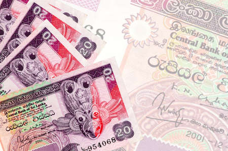 20 Sri Lankan rupees bills lies in stack on background of big semi-transparent banknote. Abstract business background with copy space
