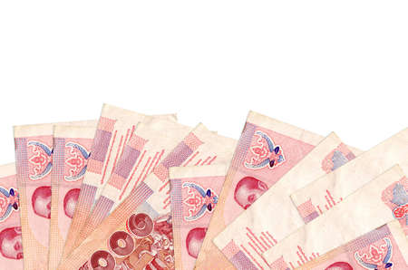 100 Thai Baht bills lies on bottom side of screen isolated on white background with copy space. Background banner template for business concepts with money Standard-Bild