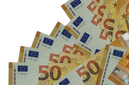 50 euro bills lies in different order isolated on white. Local banking or money making concept. Business background banner