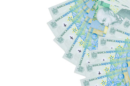 1 Romanian leu bills lies isolated on white background with copy space. Rich life conceptual background. Big amount of national currency wealth