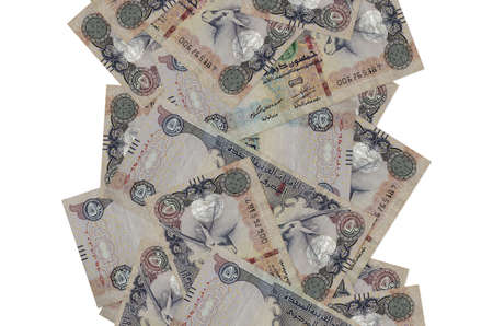 50 UAE dirhams bills flying down isolated on white. Many banknotes falling with white copy space on left and right side Stock fotó